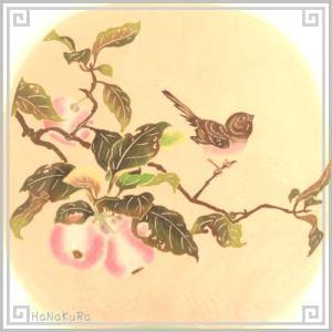 切り絵 老剪紙 工芸品 セミアンティーク セットA103 鳥果豊収 23×23cm 2枚組|zakka-hanakura