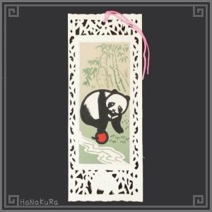 栞 しおり パンダ 熊猫 中国 101-05 りんごパンダ 手描き レトロ 中華 1枚 zakka-hanakura