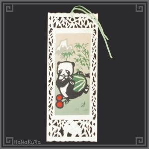 栞 しおり パンダ 熊猫 中国 101-07 すいかパンダ 手描き レトロ 中華 1枚 zakka-hanakura