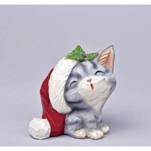クリスマス用品 置物 オブジェ カービングスマイルキャット アメショ/ARC0041|zakka-littlemama