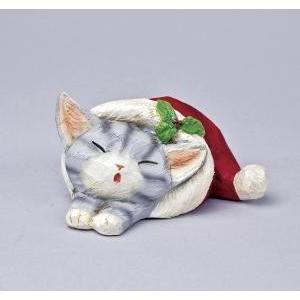クリスマス用品 置物 オブジェ カービングスリープキャット アメショ/ARC0051|zakka-littlemama