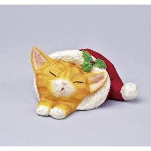 クリスマス用品 置物 オブジェ カービングスリープキャット トラ/ARC0052|zakka-littlemama