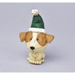 クリスマス用品 置物 オブジェ カービングドッグ ジャックラッセル/ARC0062|zakka-littlemama