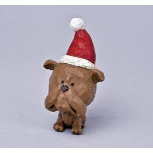 クリスマス用品 置物 オブジェ カービングドッグ ブルドッグ/ARC0063|zakka-littlemama