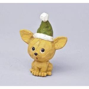 クリスマス用品 置物 オブジェ カービングドッグ チワワ/ARC0064|zakka-littlemama
