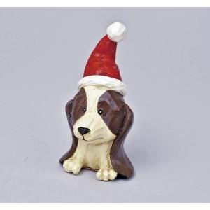 クリスマス用品 置物 オブジェ カービングドッグ キャバリア/ARC0065|zakka-littlemama