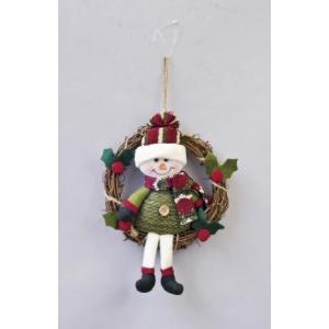 クリスマス用品 人形 置物 オブジェ ループニット リース スノーマン/AWT1632|zakka-littlemama