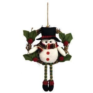クリスマス用品 リース 人形 オブジェ 足ぶらリース スノーマン/AWT1732|zakka-littlemama