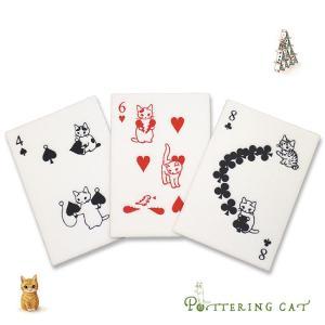 即納 ポタリングキャット トランプポストカード 3枚セット(猫のイラストがかわいい雑貨 おしゃれなデザインのポストカード ねこ雑貨) zakka-nekoya
