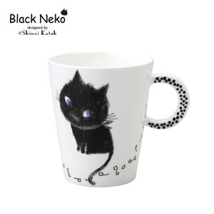 即納 Black Neko ブラックネコ マグカップ(ネコグッズ/可愛い/猫/雑貨/キッチン/かわいい/食器/猫好き/プレゼント/猫グッズ)|zakka-nekoya