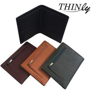 THINly スィンリー カードをたくさん入れても薄い財布NEXT 小銭入れ付き BS05(二つ折り財布 メンズ 男性 薄い 財布 牛革) zakka-nekoya