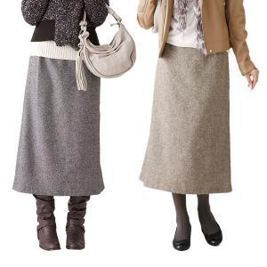 ツイード素材のらくちんスカート ブラウン系L  zakka-noble-beauty