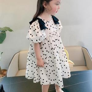 水玉ワンピース サマードレス サイズ7-15 こども 白 黒 zakka-noble-beauty