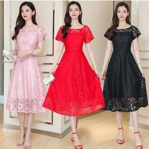 【大きいサイズS-5XL】総レース 半袖 フォーマル ドレス ワンピース ピンク/ブラック/アカ|zakka-noble-beauty