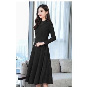 【大きいサイズM-5XL】花柄 長袖 ドレス ワンピース リボン プチハイネック ブラック/アカ|zakka-noble-beauty