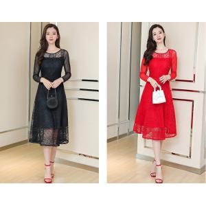 【大きいサイズS-5XL】総レース ドレス フォーマル ワンピース 長袖 シースルー アカ/ブラック|zakka-noble-beauty