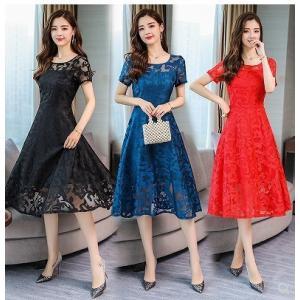 【大きいサイズM-5XL】総レース ドレス フォーマル ワンピース 半袖 ブルー/アカ/ブラック|zakka-noble-beauty