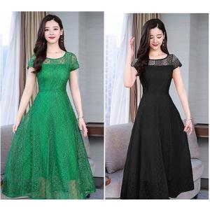 【大きいサイズS-5XL】総レース ドレス フォーマル ワンピース 半袖 グリーン ブラック レッド|zakka-noble-beauty