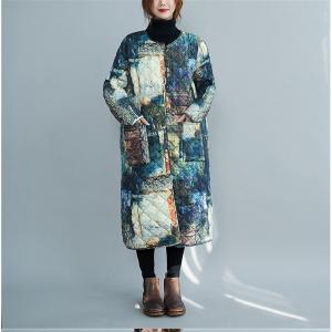 【大きいサイズL-XL】キルティングコート 中綿ジャケット ブルー系 総柄 個性的|zakka-noble-beauty