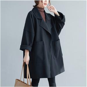 【大きいサイズF】切りっぱなしデザイン コート ブラック|zakka-noble-beauty