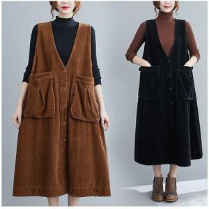 【大きいサイズF】コーデュロイ ジャンパースカート ビッグポケット ワンピース ブラック/ブラウン/ダークパープル|zakka-noble-beauty