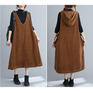 【大きいサイズF】コーデュロイ ジャンパースカート フード付き ワンピース ブラック/ブラウン/ダークパープル|zakka-noble-beauty