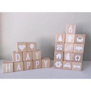 木製  キューブ ブロック 積み木  26個 アルファベット 数字 イラスト 木のおもちゃ オブジェ かわいい プレゼント zakka-noble-beauty