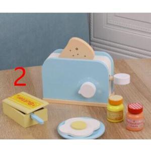 木のおもちゃ(2) 朝食セット トースター おままごと キッチン 木製 おしゃれ プレゼント 男の子 女の子|zakka-noble-beauty