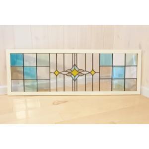 在庫有ります!即日発送!  木製白枠付きステンドグラス  サイズ 幅87.5cm 高さ30cm 厚さ...