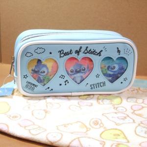 ディズニー スティッチの人気窓あき使用の筆箱+すみっコぐらしのハンドタオルの組み合わせです。  ペン...
