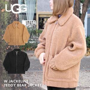 UGG アグ W JACKELINE TEDDY BEAR JACKET ジャケライン テディ ベア ジャケット ジャケット アウター フォーファー レディース ブラック ブラウン 1107550|zakka-tokia