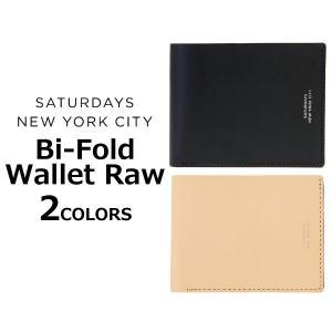 SATURDAYS NYC サタデーズ サーフ ニューヨークシティ Bi-Fold Wallet Raw ウォレット ロー 財布 二つ折り 革 メンズ ベジタブル タン M21723BF01|zakka-tokia