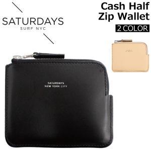 SATURDAYS NYC サタデーズ サーフ ニューヨークシティ Cash Half Zip Wallet キャッシュ ハーフ ジップ ウォレット 財布 コインウォレット 革 メンズ M21723CS01|zakka-tokia
