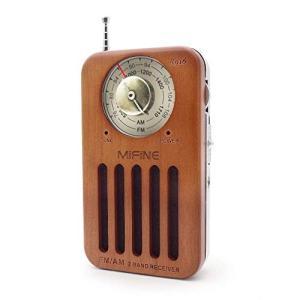 ポータブルラジオ 高感度 Mifine レトロラジオ 小型 FM/AM対応 ポケットラジオ モノラル 簡単な使用 携帯ラジオ 木製 乾電池式|zakka-viento