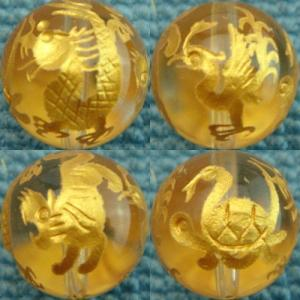 彫刻ビーズ14ミリ手彫風水四神青龍・白虎・朱雀・玄武四面刻印クリスタル1粒347円