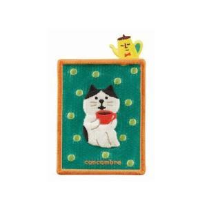 DECOLE concombre 刺繍カードポケット コーヒー|zakkahibinene