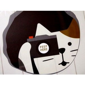 DECOLE concombre ドアステッカー (穴からカメラ猫) zakkahibinene
