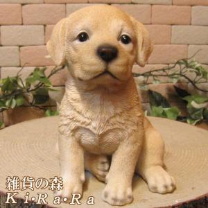 犬の置物 ラブラドールレトリバー 犬の置物 ラブラ お座りタイプ リアルな子いぬのフィギア イヌのオブジェ ガーデニング 玄関先 zakkakirara