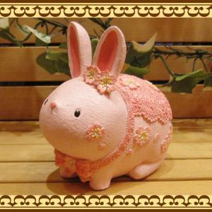うさぎ 置物 お花とレースにラインストーンでおめかし♪ 可愛いアニマルバンク ウサギとサクラの貯金箱  桜うさぎ お部屋のインテリアにギフトとして zakkakirara