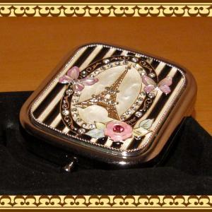 コンパクトミラー(手鏡) チョウチョとエッフェル塔(シルバー) zakkakirara