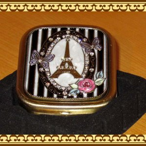 コンパクトミラー(手鏡) チョウチョとエッフェル塔(アンティークゴールド) zakkakirara