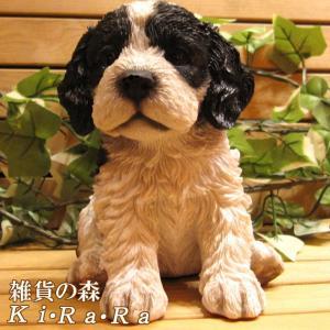 犬の置物 リアルな犬の置物 コッカースパニエルとプードルのMIX コッカープー B&W 子いぬのフィギア イヌのオブジェ ガーデニング 玄関先 陶器|zakkakirara