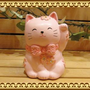 ねこ 置物 お花とラインストーンでおめかし♪ 可愛いアニマルバンク ネコとサクラの貯金箱  招き猫 お部屋のインテリアにギフトにしても zakkakirara
