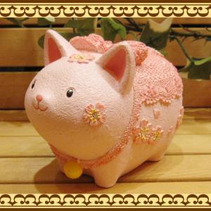 ねこ 置物 お花とレースにラインストーンでおめかし♪ 可愛いアニマルバンク ネコとサクラの貯金箱  桜猫 お部屋のインテリアにギフトとしても zakkakirara