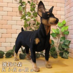 犬の置物 ピンシャー 大きくてリアルな犬のぬいぐるみ ドッグオブジェ アニマル雑貨 いぬ イヌ ドッグ 動物 アニマル オブジェ 雑貨 フィギュア|zakkakirara
