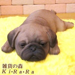 犬の置物 パグ リアルな犬の置物 ウトウト・ねむねむ 子いぬのフィギア イヌのオブジェ ガーデニング 玄関先 陶器|zakkakirara