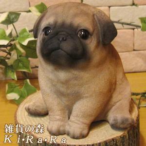 犬の置物 パグ リアルな犬の置物 ぷっくりベビードッグ Aタイプ 子いぬのフィギア イヌのオブジェ ガーデニング 玄関先 陶器|zakkakirara