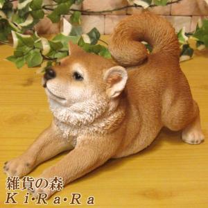 犬の置物 柴犬 リアルな犬の置物 のびのびシバ 子いぬのフィギア しばイヌのオブジェ ガーデニング 玄関先 陶器 しばけん|zakkakirara