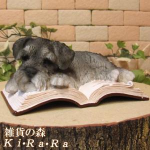 犬の置物 シュナウザー お昼寝中! オン ブック リアルな犬の置物 子いぬのフィギア イヌのオブジェ ガーデニング 玄関先 陶器|zakkakirara