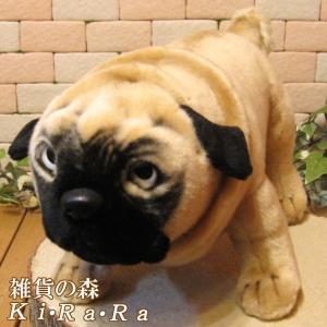 犬の置物 パグ リアルな犬のぬいぐるみ 子犬 いぬ イヌ ドッグ 動物 アニマル オブジェ 雑貨 フィギュア モチーフ インテリア 玄関 癒し|zakkakirara